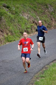 PHDC members Kevin Spradlin (13) and Mike Meadows approaching Mile 2.