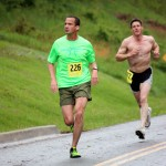 PHDC member Joe Cross leads eventual winner Wes Boddy in the first half of the Conquer the Dam 5K.