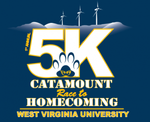 The official logo of the inaugural Catamount Race to Homecoming 5K was designed by former Potomac State College student Jake Marshall.